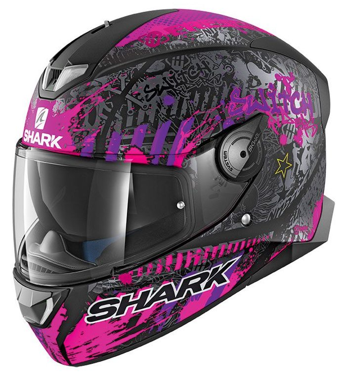 casque shark skwal 2 switch rider noir rose mat sasie center moto. Black Bedroom Furniture Sets. Home Design Ideas